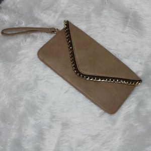 Faux Leather Clutch with Metal Accents on Trim EUC